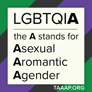 "A square image with a green, grey, and purple border and a white center. The text in the center says ""LGBTQIA: the A stands for Asexual, Aromantic, Agender."" The text on the border says TAAAP.ORG."